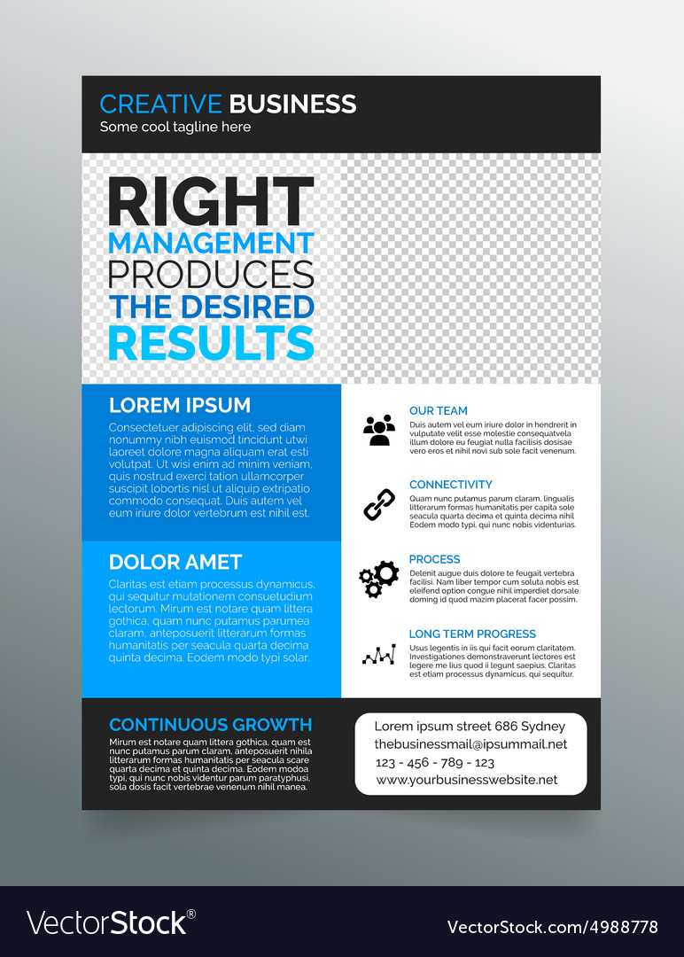 Business flyer template a4 modern blue design vector image flashek Image collections