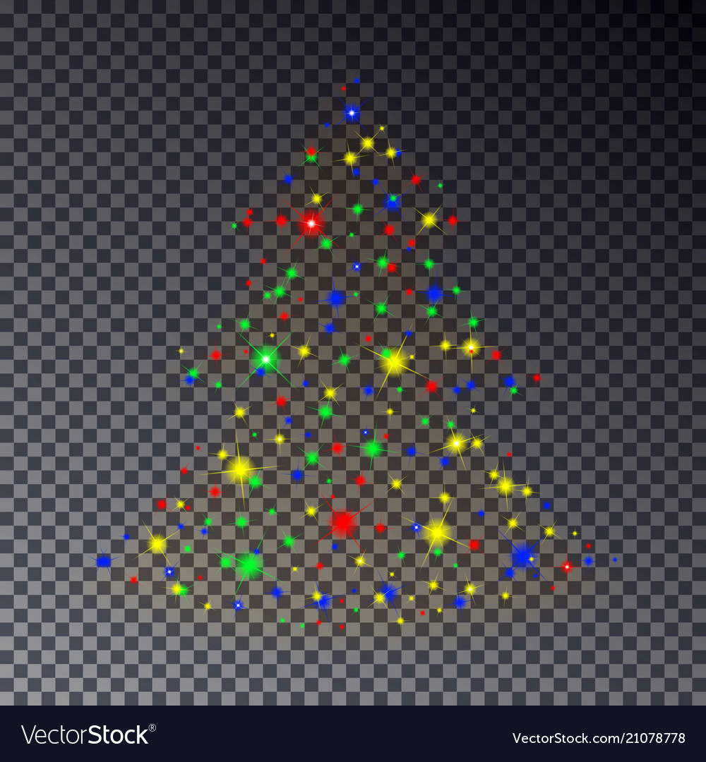 Colorful christmas tree made of sparkle isolated o