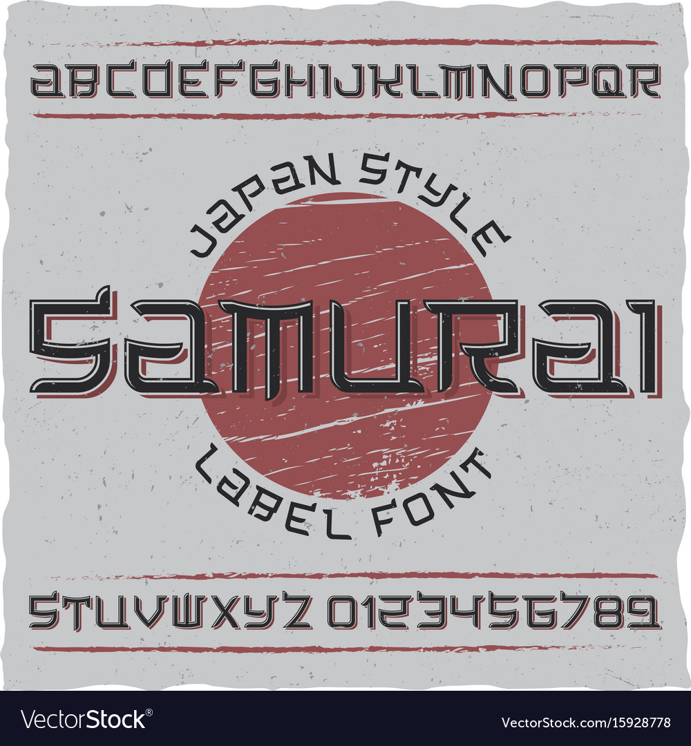 Japan style label font poster
