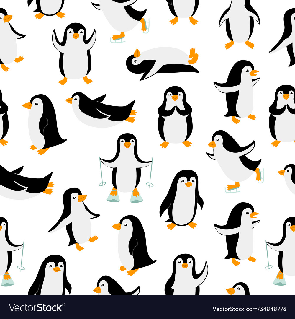 Little penguins in different poses seamless