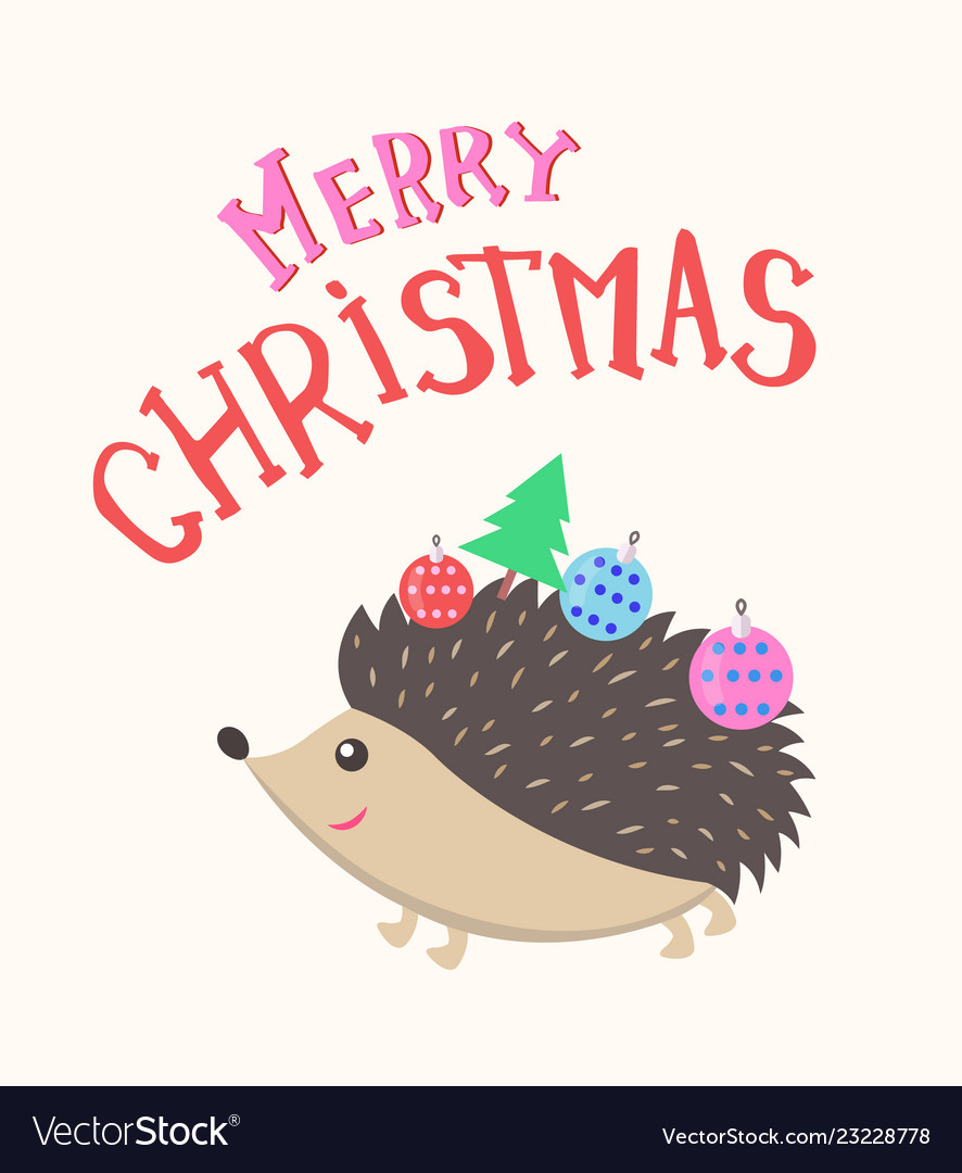 Merry christmas hedgehog with new year balls tree