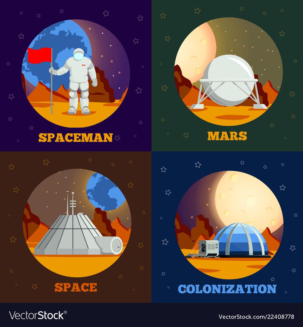 Planet colonization flat design concept