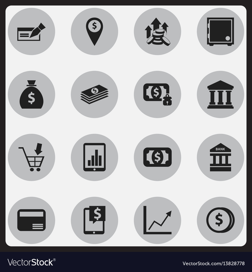 Set of 16 editable financial icons includes vector image