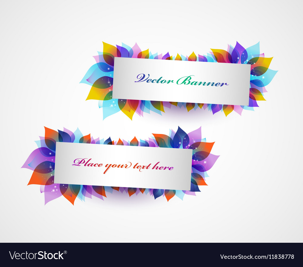 Set of banners with bright leaves