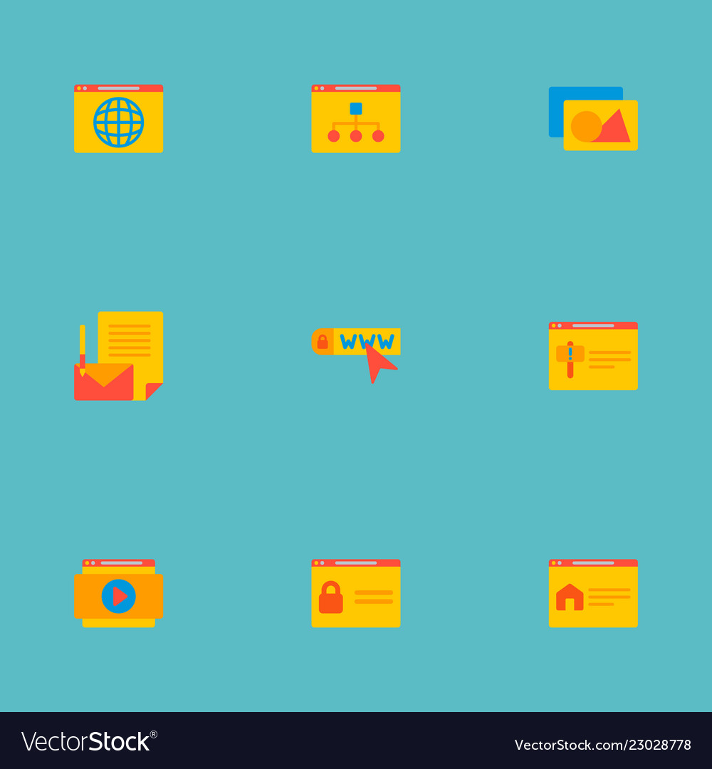 Set of website development icons flat style