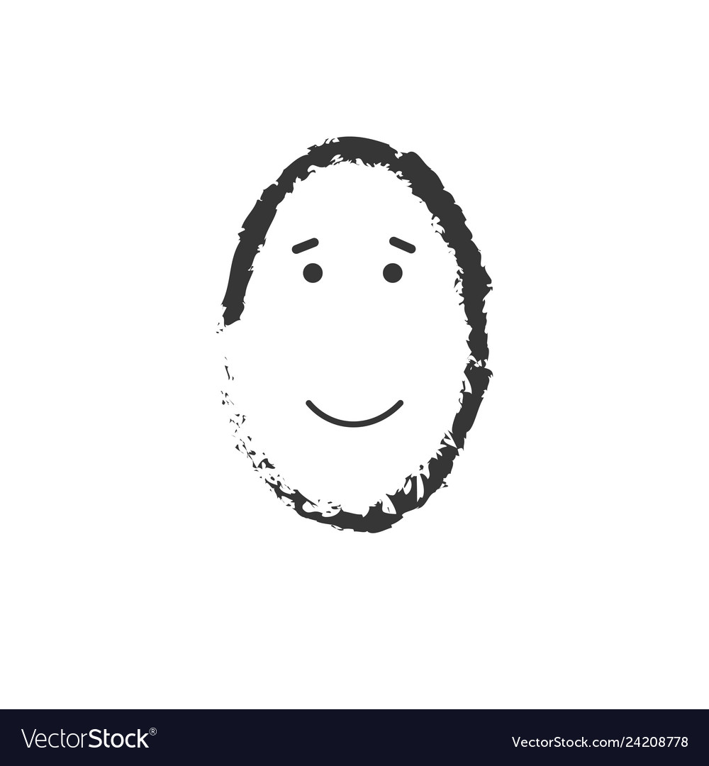 Simple grunge happy emoticon drawing on white