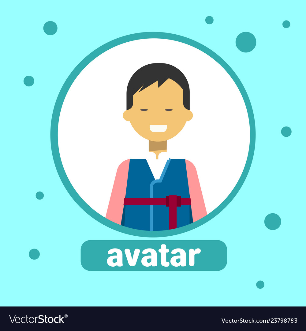 Asian man avatar icon japanese male in traditional