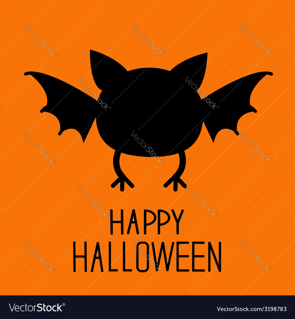 Black bat silhouette Happy Halloween card Flat des