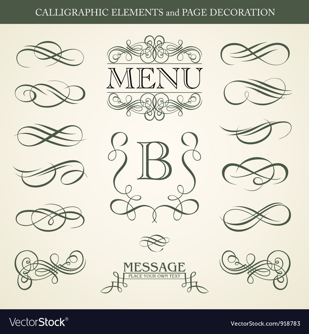 CALLIGRAPHIC ELEMENTS and PAGE DECORATION vector image