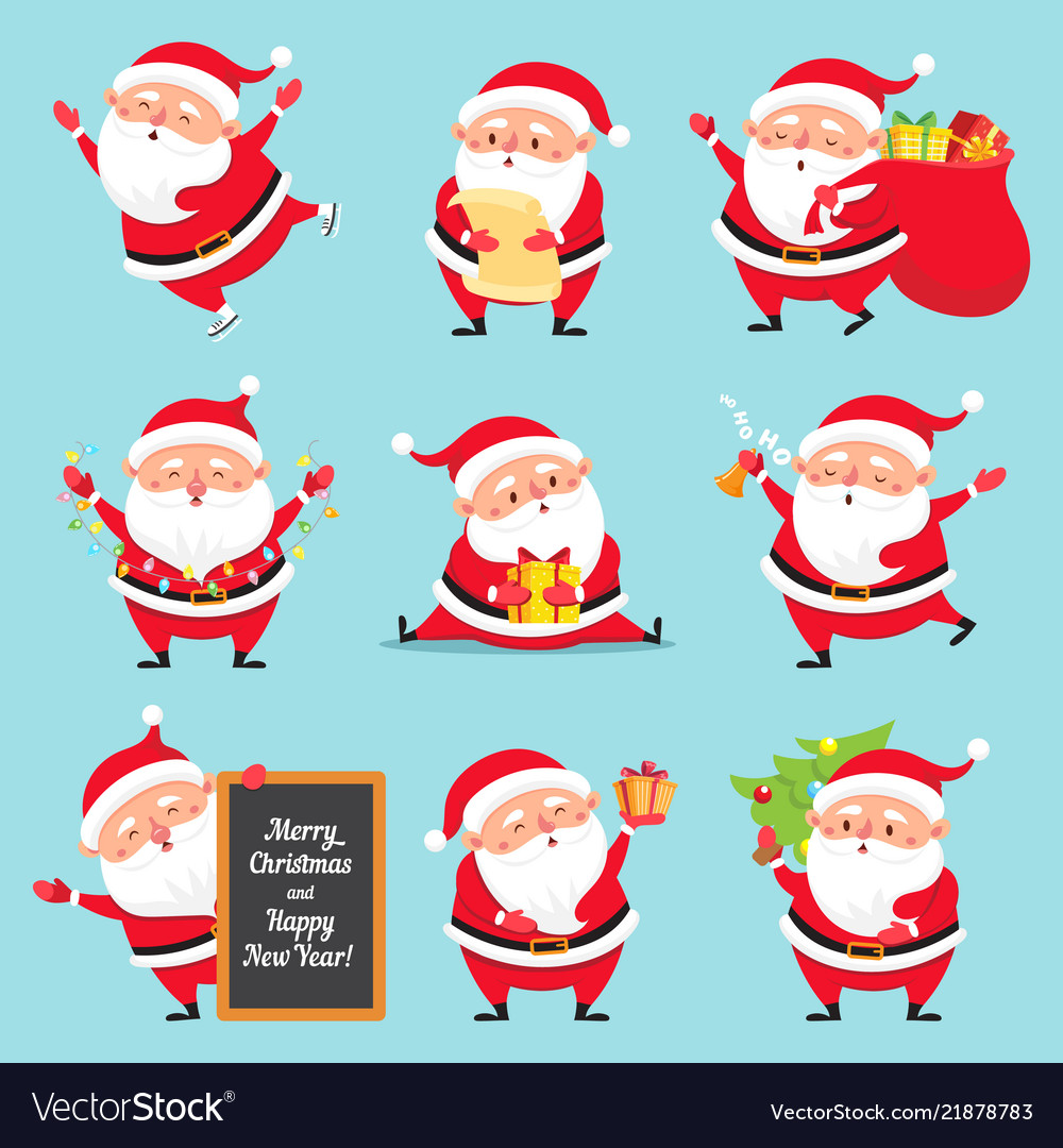 Cartoon santa claus christmas holiday greeting