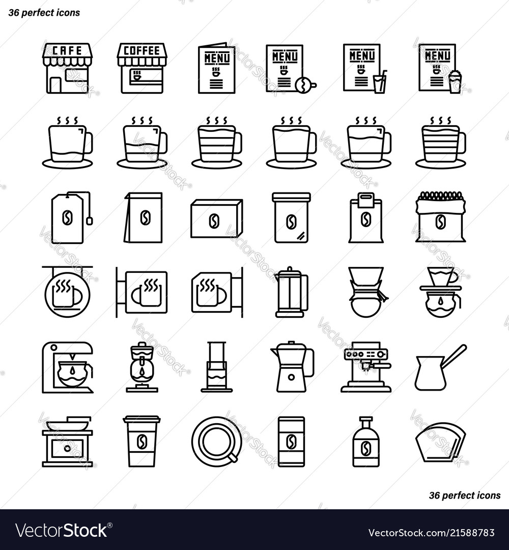 Coffee shop outline icons perfect pixel