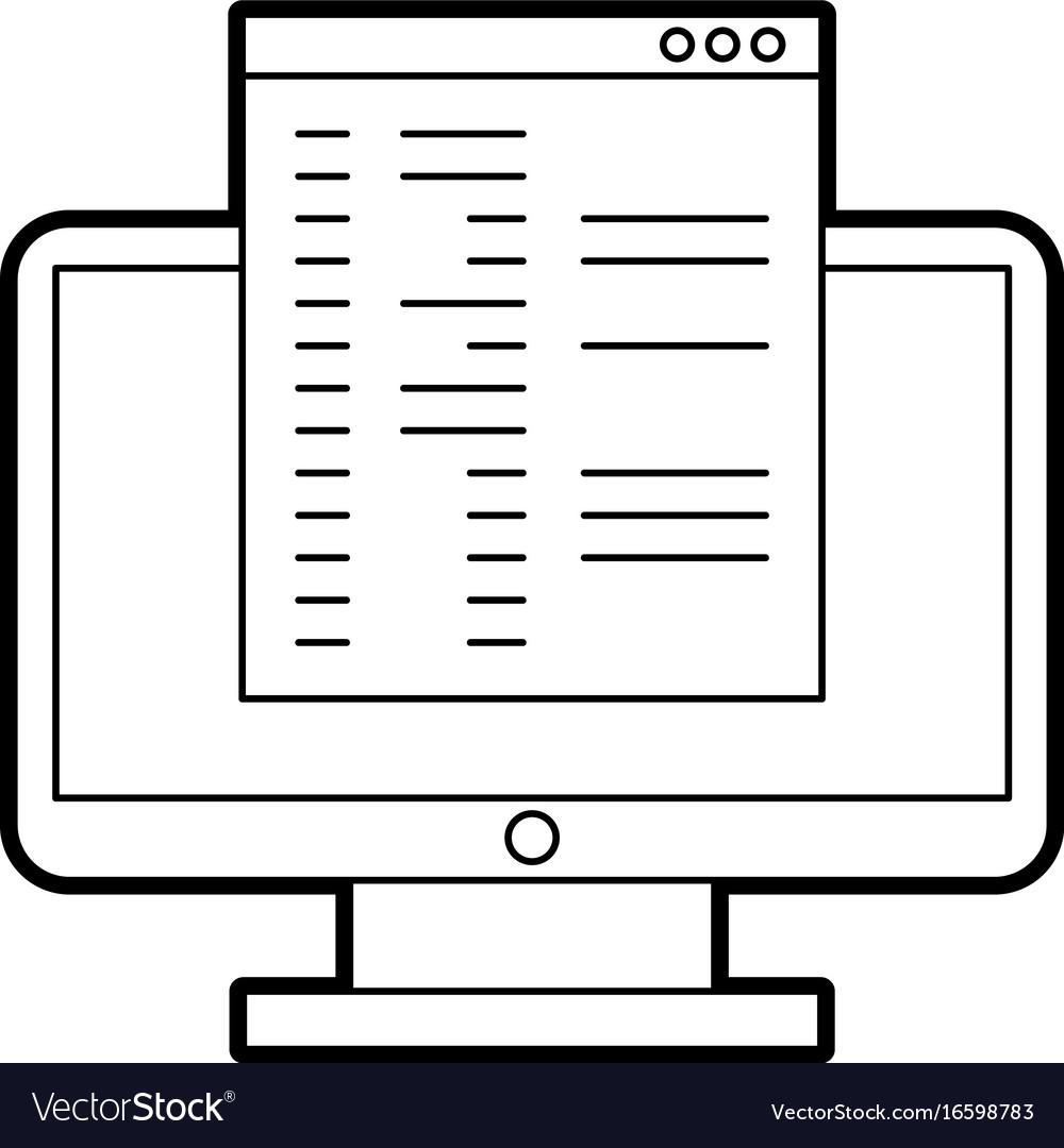 Computer desktop with template