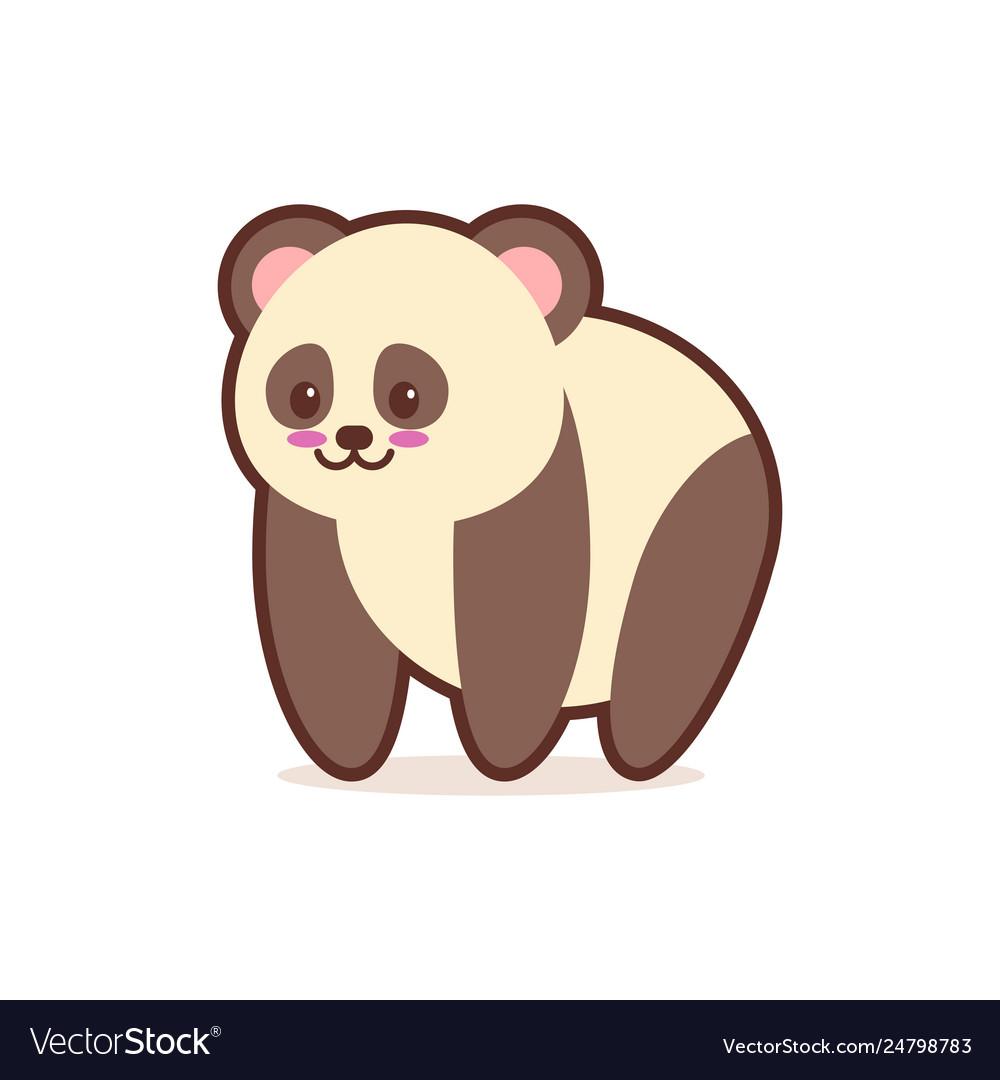 Cute panda cartoon comic character with smiling