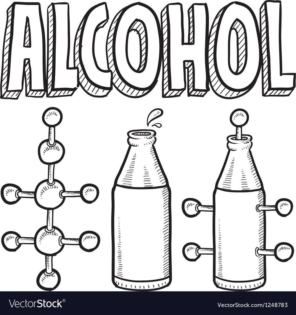 Doodle science molecule alcohole bottle vector image