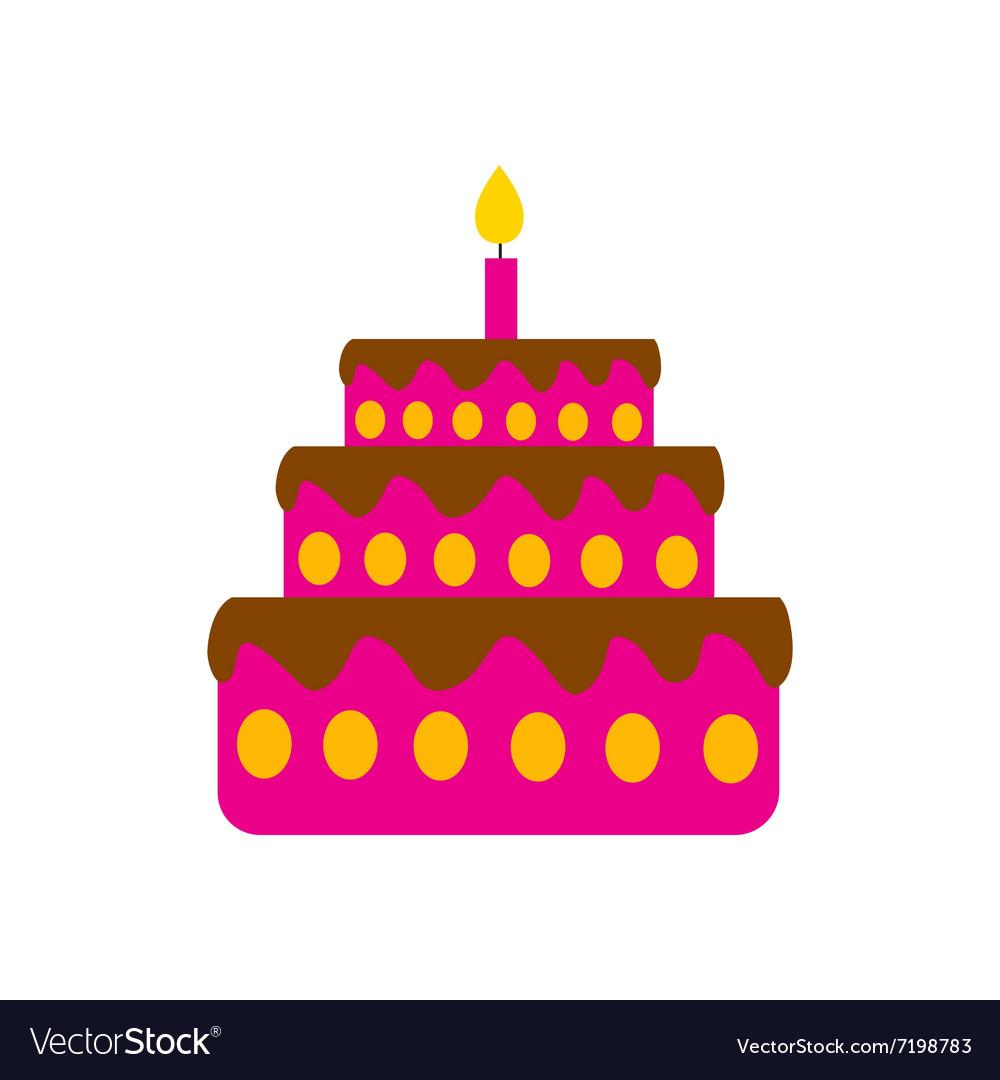 Flat Icon On White Background Birthday Cake Vector Image