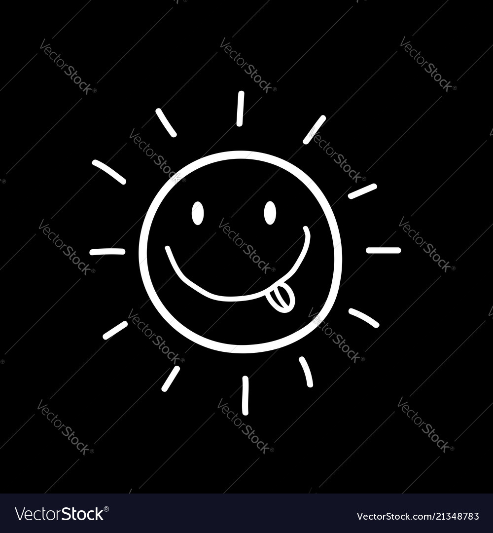 Hand drawn smiling sun with tongue out icon