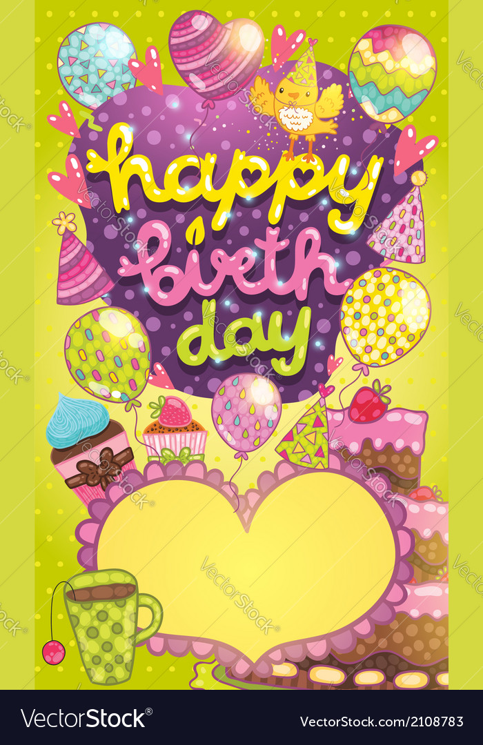 Happy Birthday card with cake balloon and cupcake