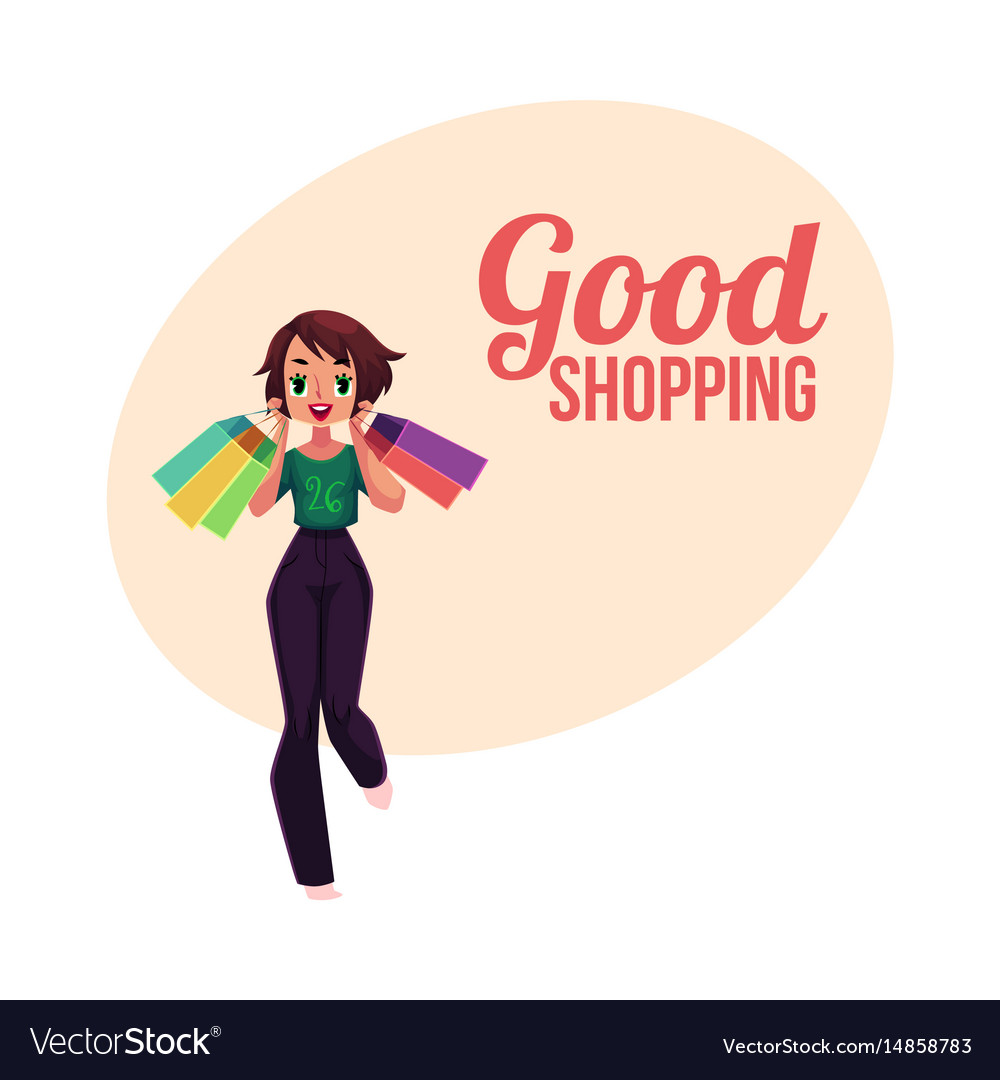 Happy shopping poster banner with girl woman