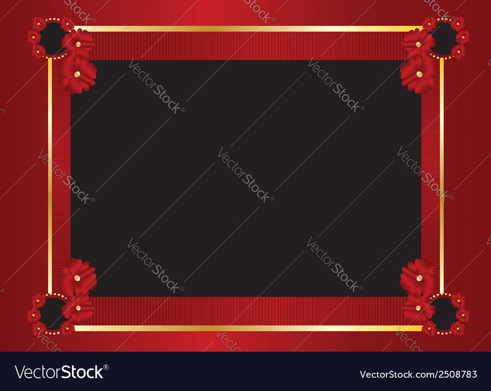 Red gold black frame background