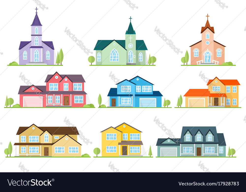 Set of flat icon suburban american houses and