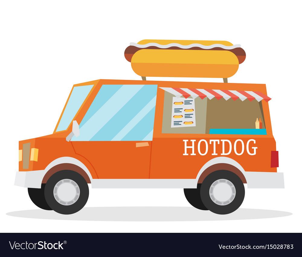 Street food van fast food delivery vector image