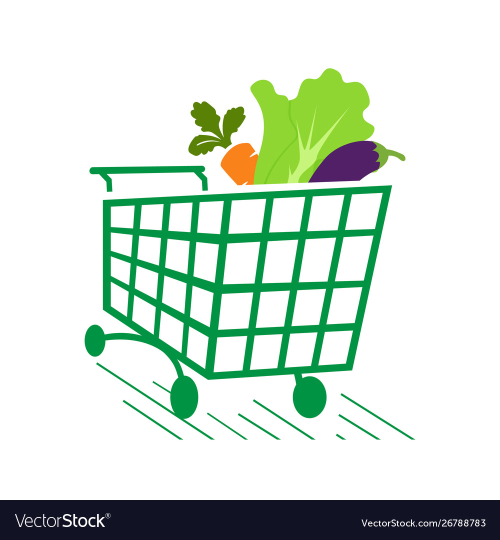 Vegetables on shopping cart grocery logo icon Vector Image