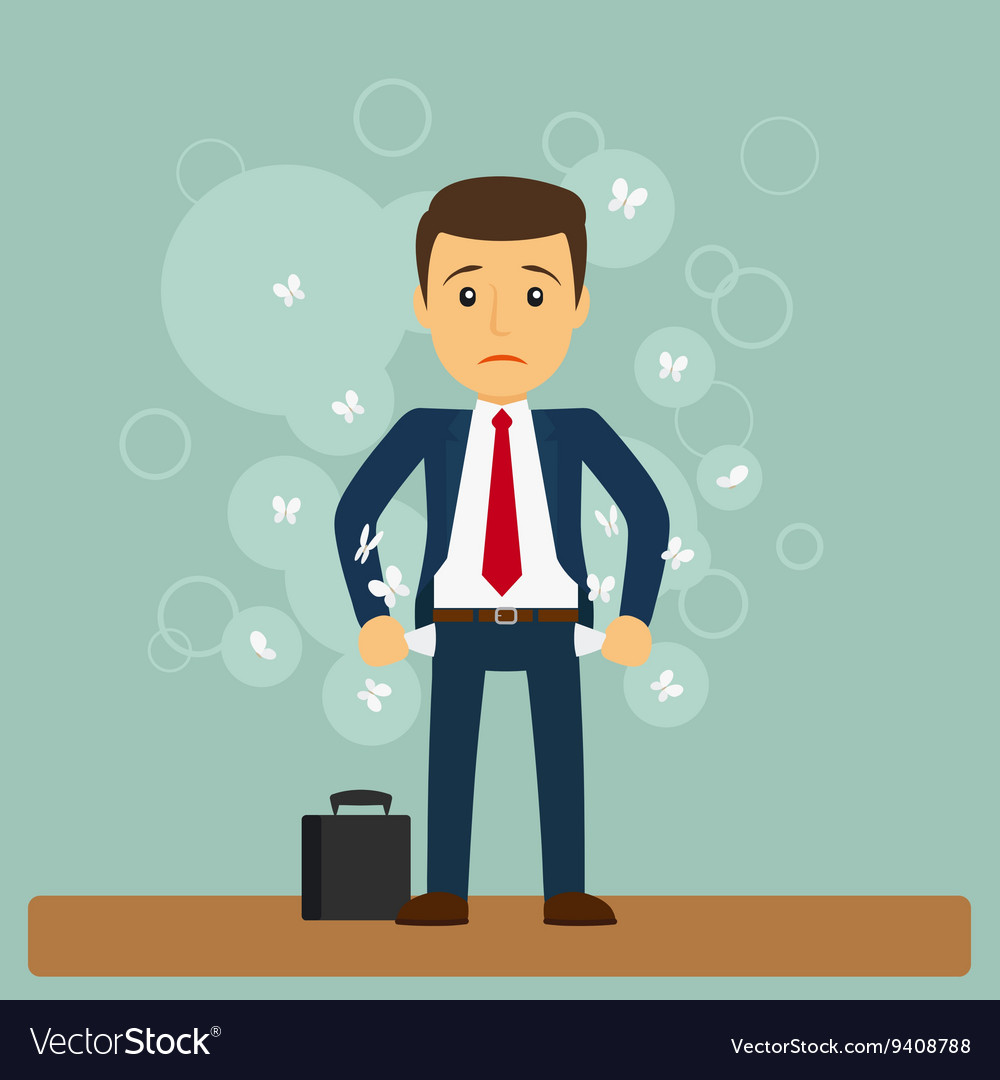 Businessman has no money vector image