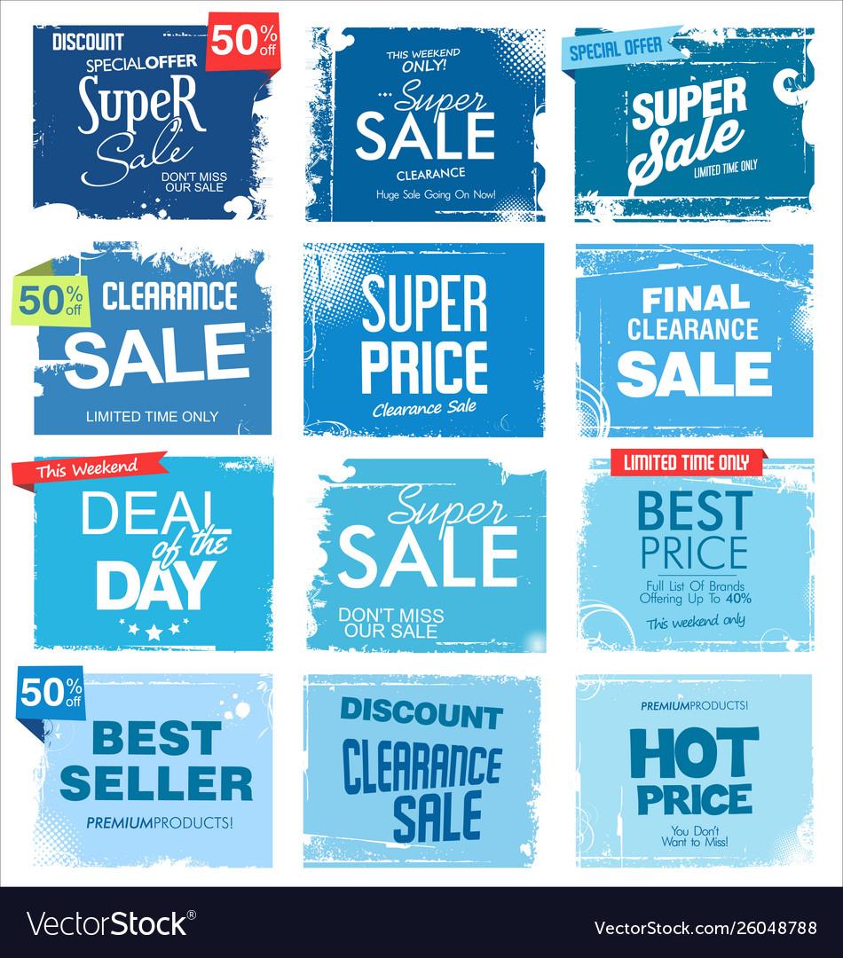 Collection blue grunge retro sale background