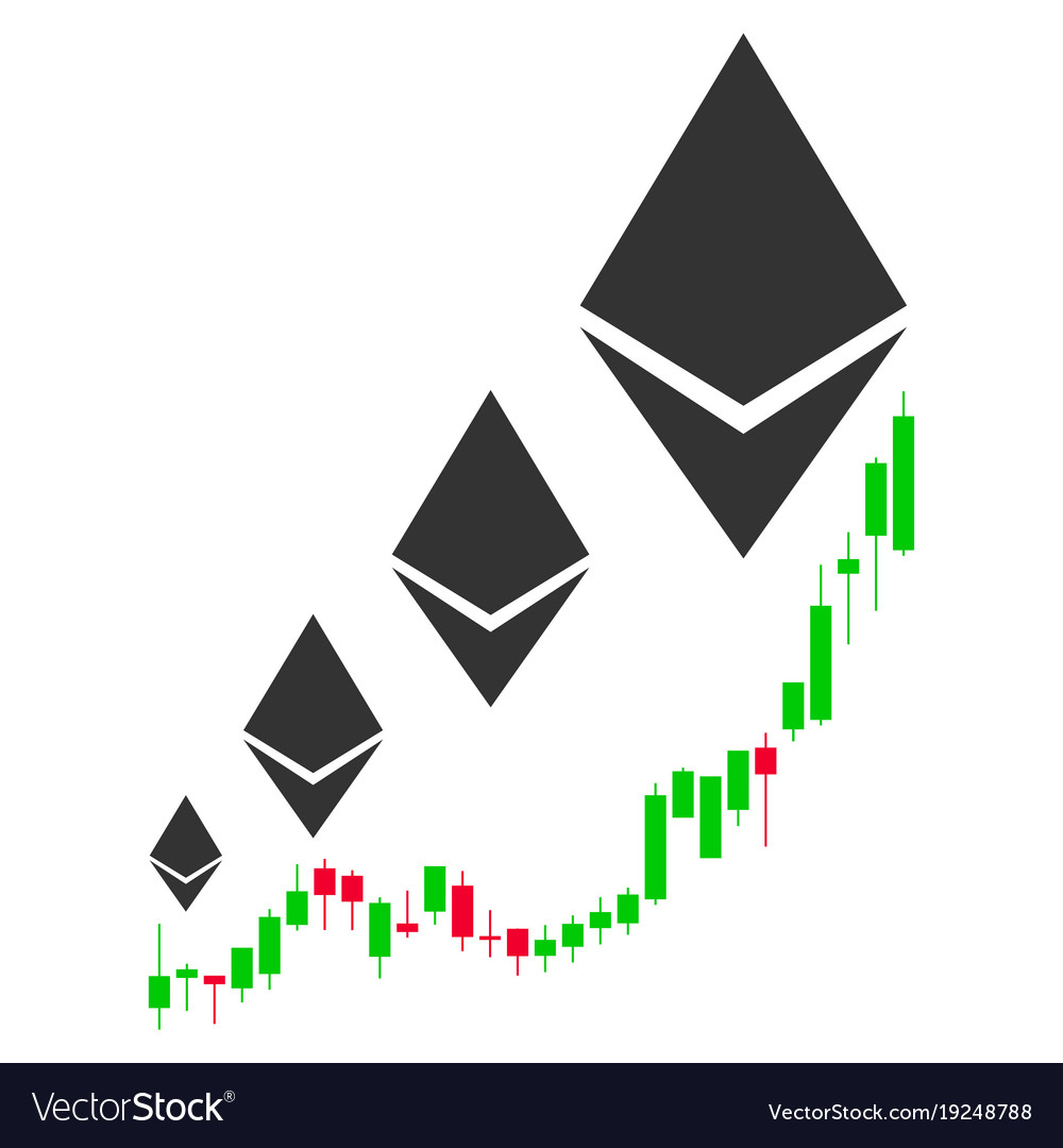 Ethereum growth chart flat icon