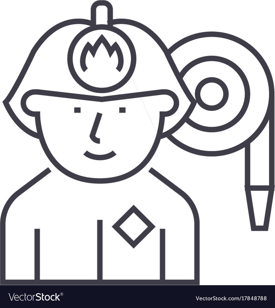 Firefighter line icon sign vector image