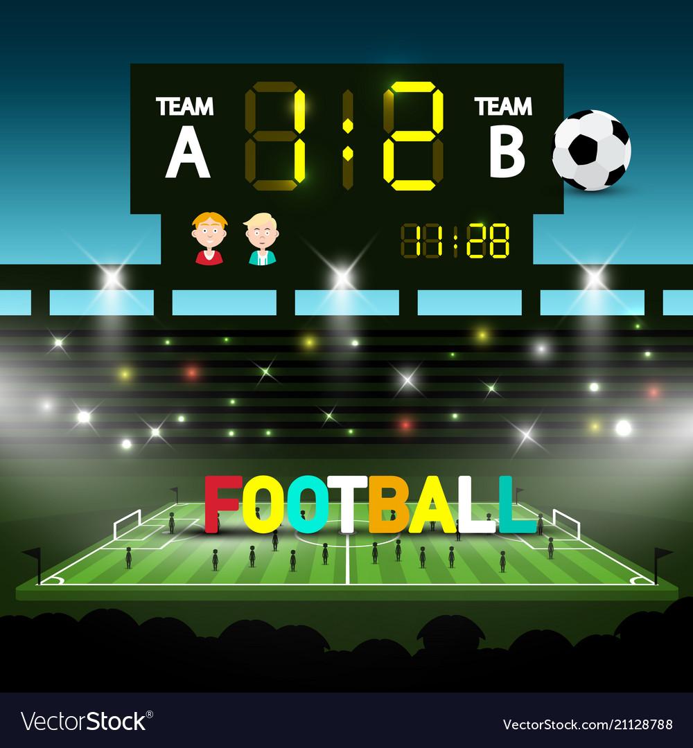 Football team match on soccer stadium evening
