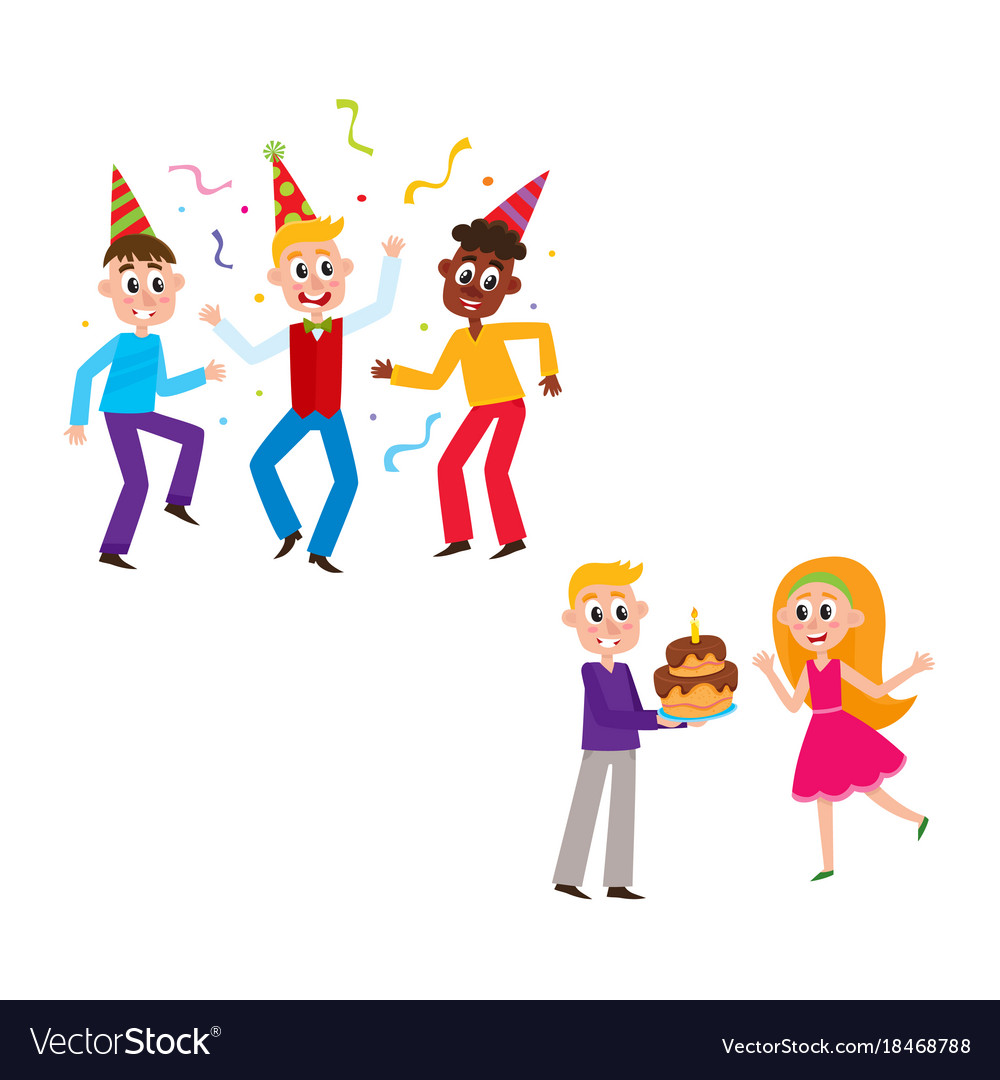Remarkable Friends Dancing Boy Giving Birthday Cake To Girl Vector Image Personalised Birthday Cards Cominlily Jamesorg