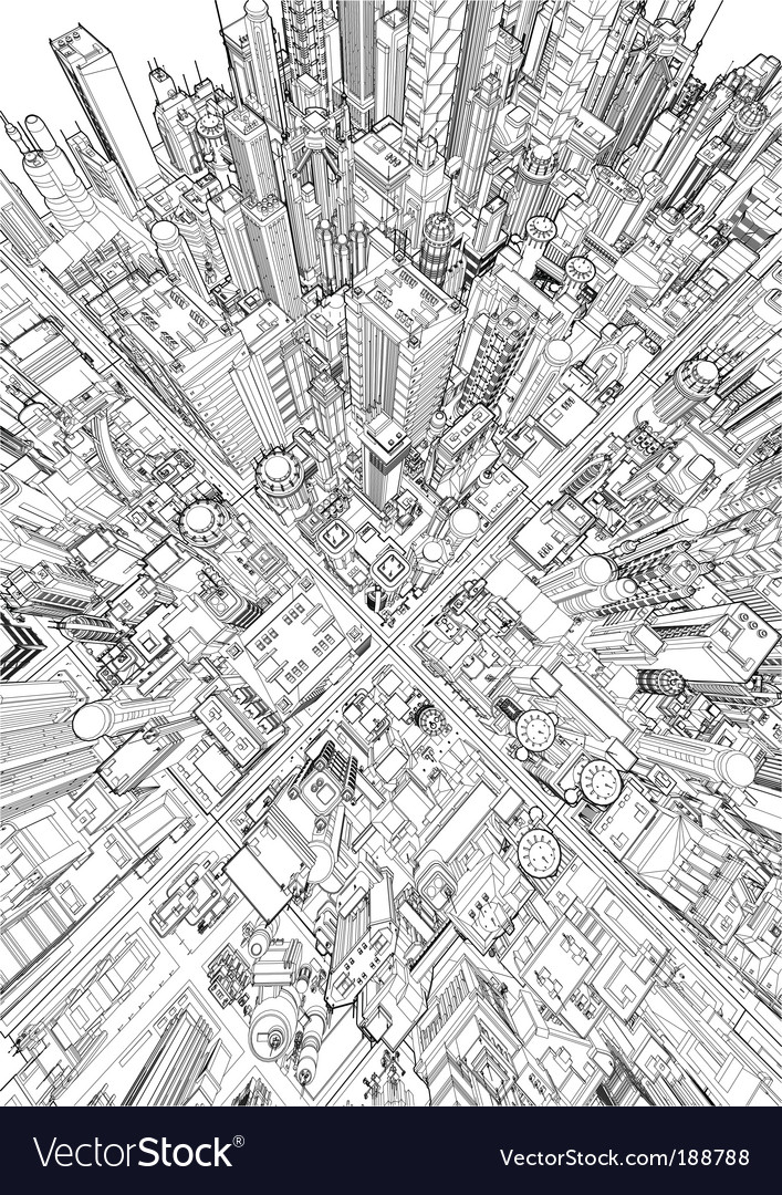 Futuristic city wireframe vector image