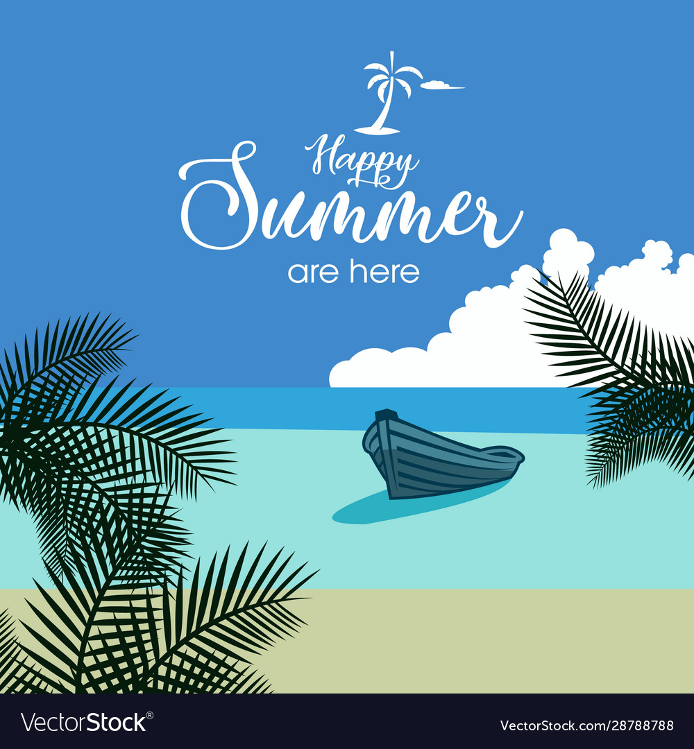 Happy summer beach flat background