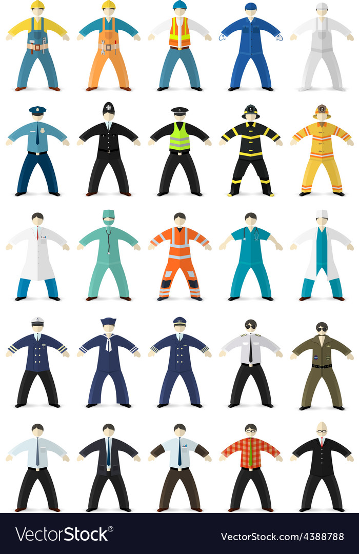 Profession people made in cartoon flat style