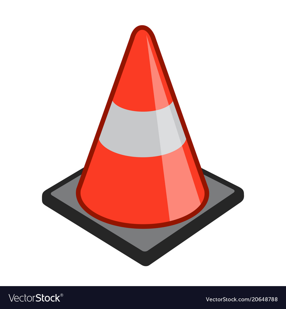 Safety cone pylon icon simple cartoon