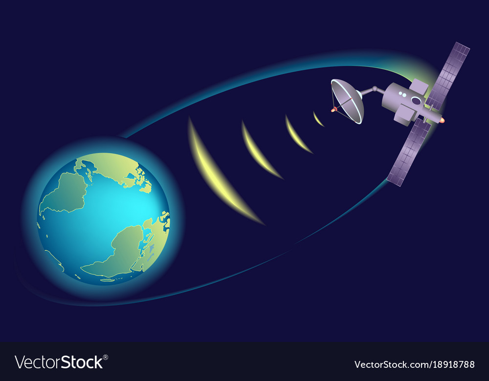 satellite orbiting earth relaying communication vector image