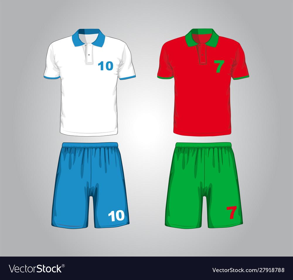 Set different soccer uniform