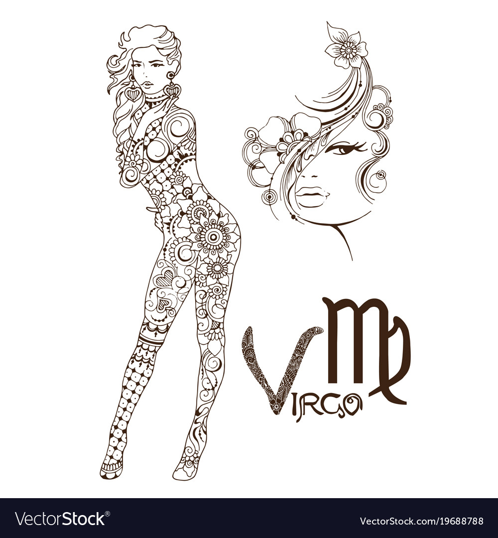 Stylized Zodiac Sign Of Fish Virgo Royalty Free Vector Image