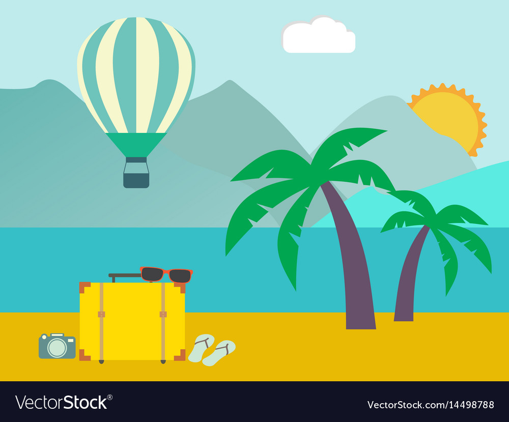 Vacation travelling concept flat design