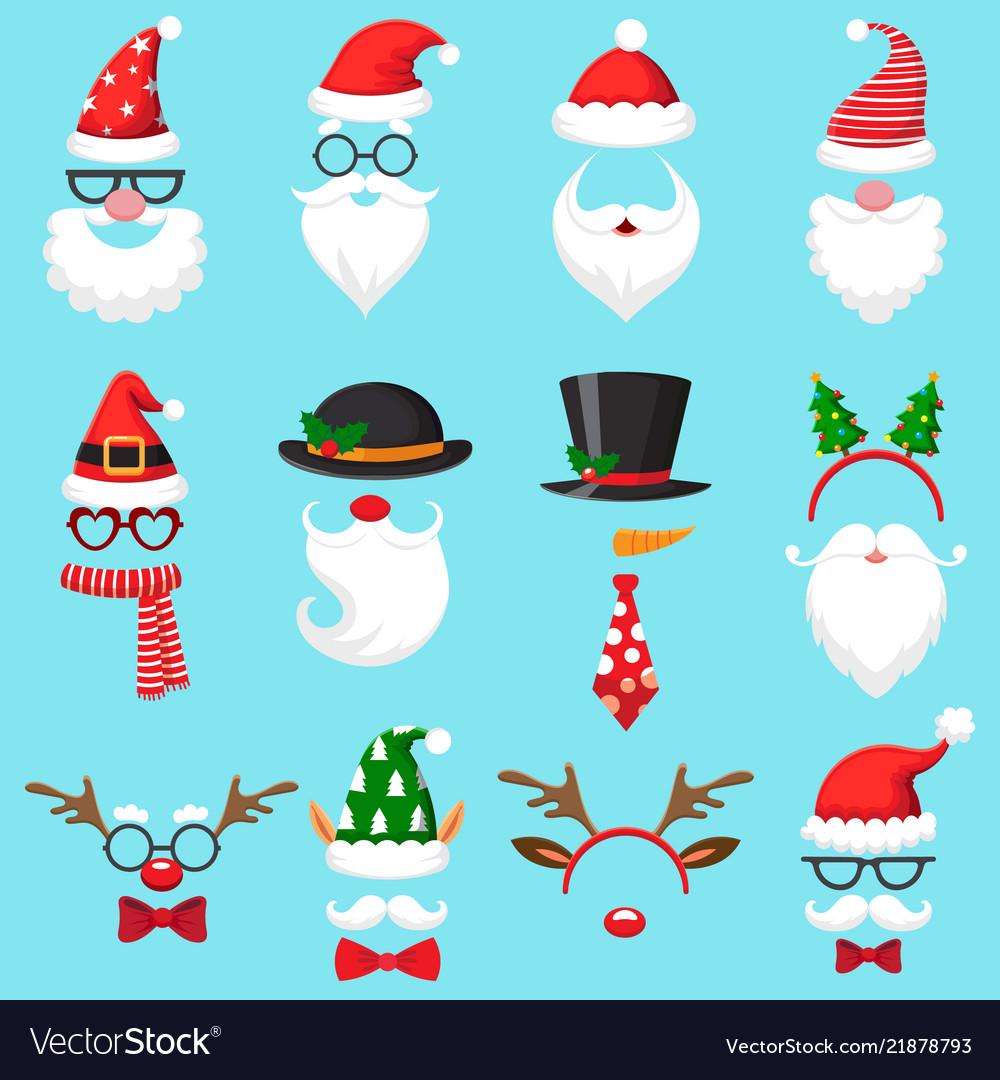 Christmas Hat Cartoon.Christmas Cartoon Hats Xmas Santa Hat Elf Cap