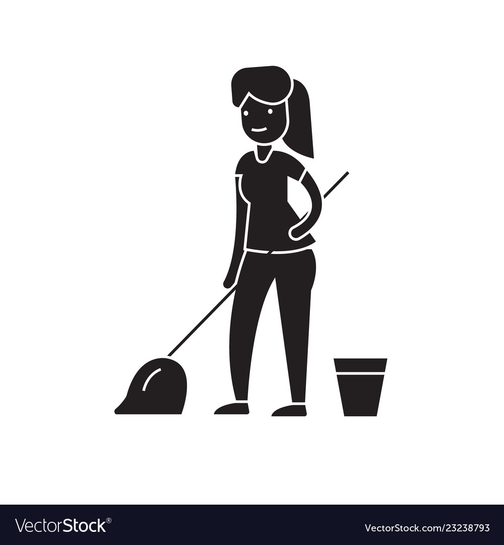 Cleaning with a mop black concept icon
