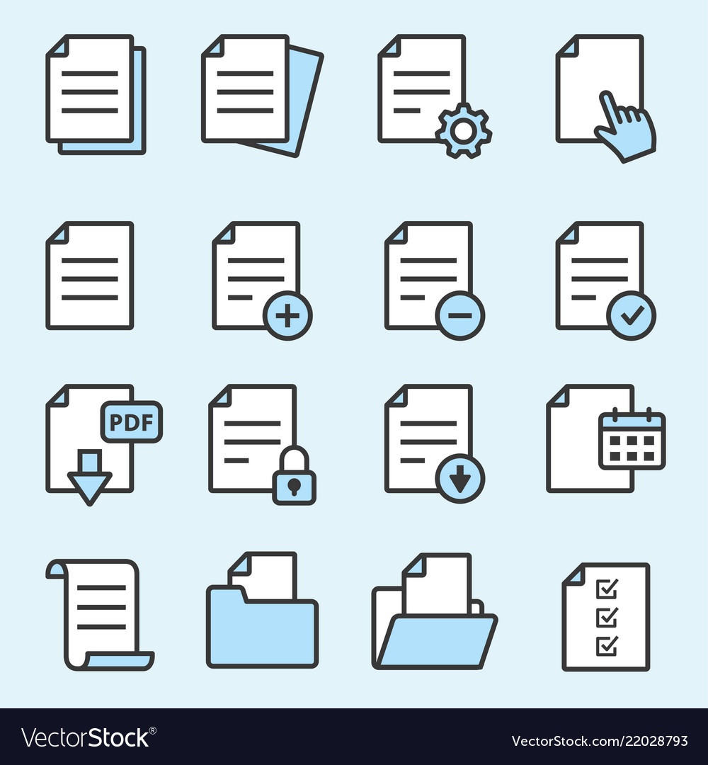 Document flat line icons for graphic and web