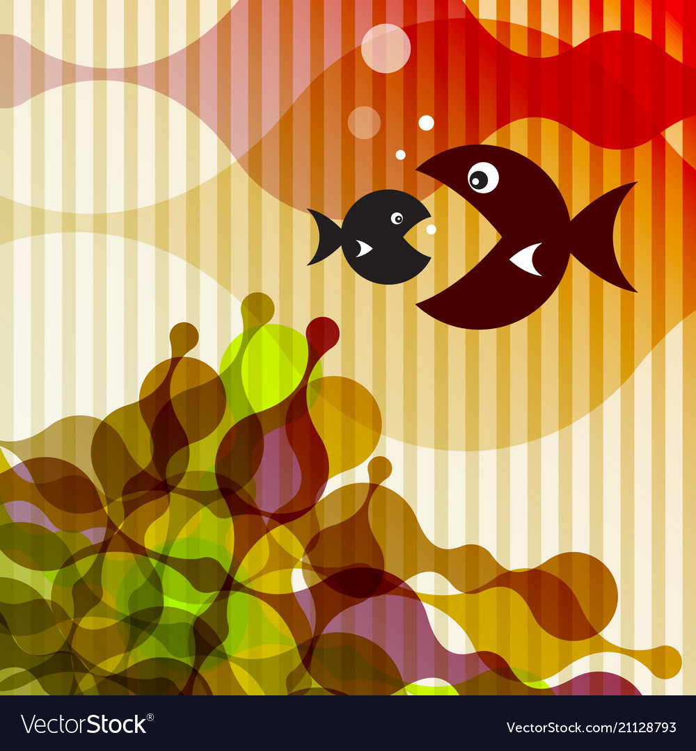 Fish on retro background vector image