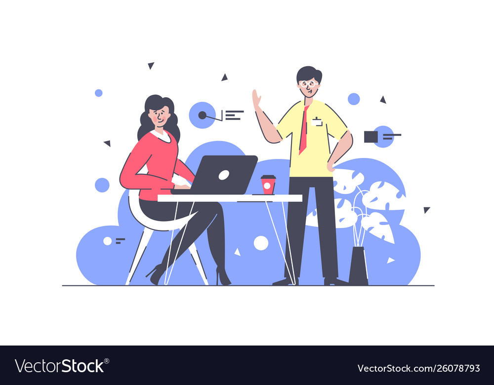 Flat businessman and businesswoman colleagues at