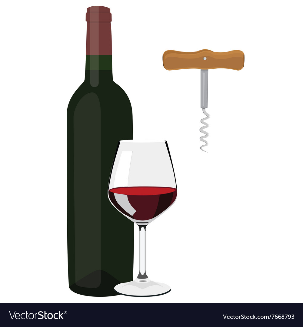 Glass bottle and corkscrew