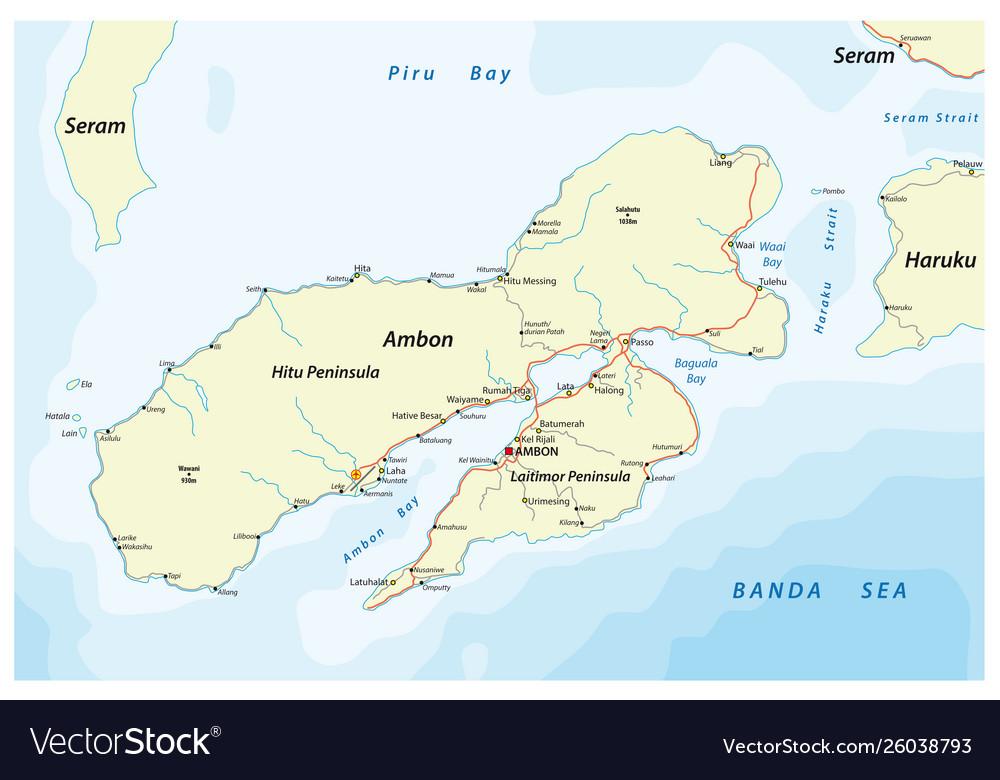 Map indonesian island ambon