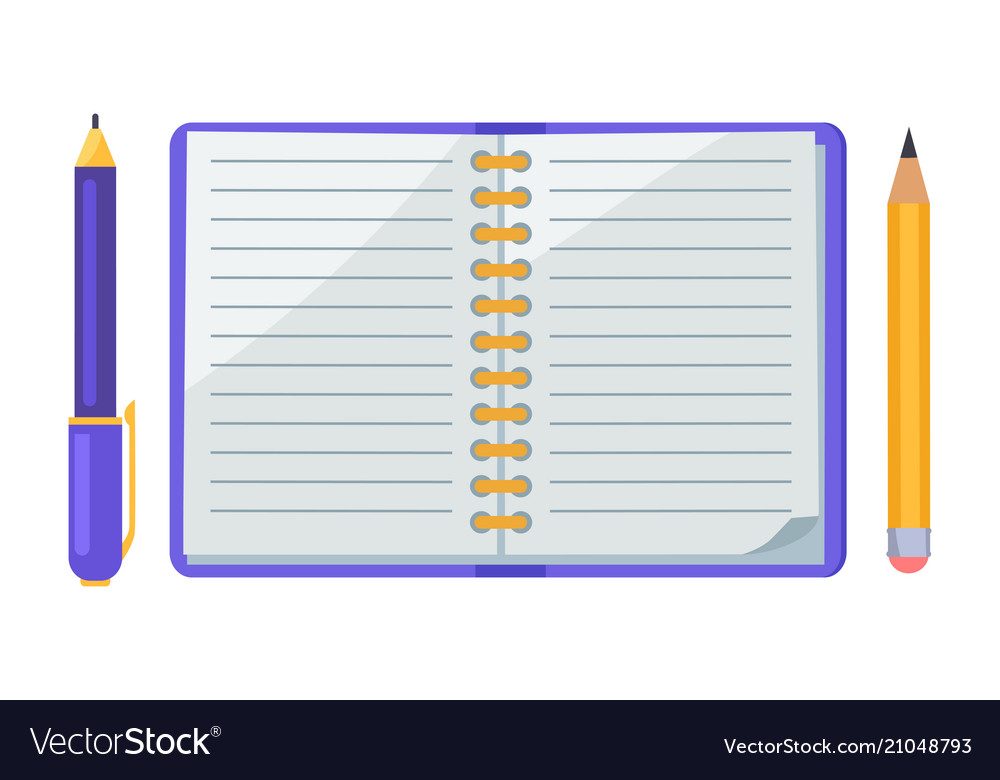 Pen and pencil notebook icons