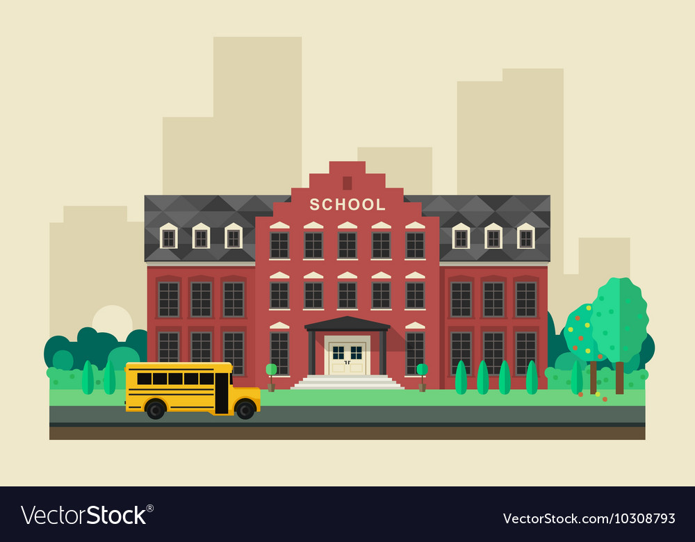School building with yellow bus