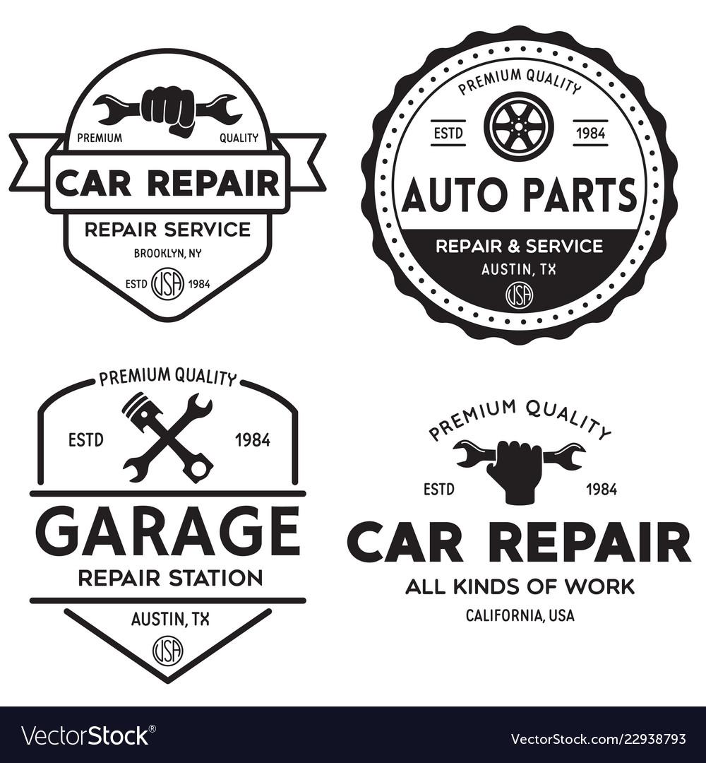 Set of vintage monochrome car repair service